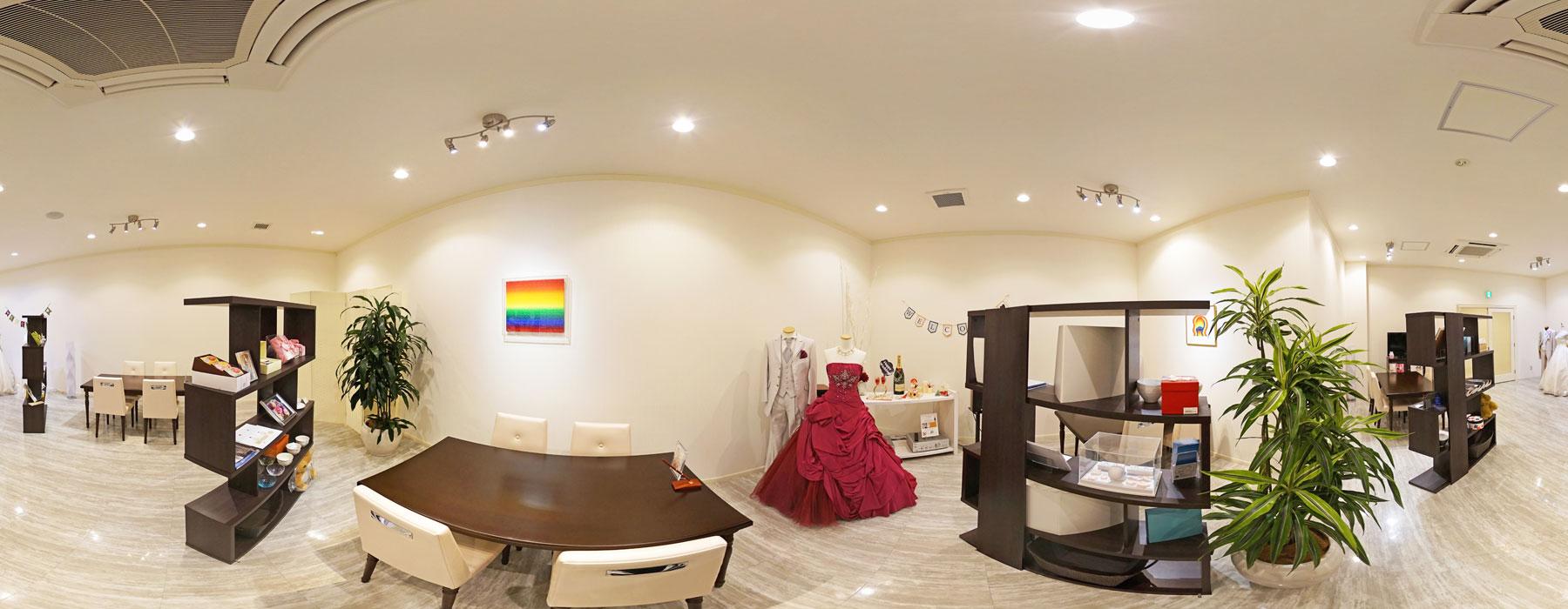 ストリートビュー・インドアビュー用の結婚式場360°パノラマ写真